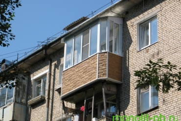 Балкон «под ключ» с увеличением по плите со скошенными углами («Евробалкон») на ул. Оружейной, г.Тула.