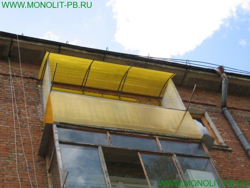 Остекление балкона поликарбонатом своими руками5