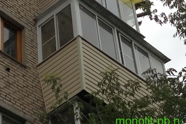 Балкон «под ключ» с выносом по подоконнику на три стороны ( предварительно с увеличением по плите) на ул.Оборонной, г.Тула.