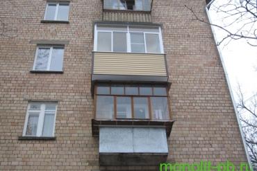 Выносной балкон «под ключ» с увеличением на три стороны по плите на ул.Руднева, г.Тула.