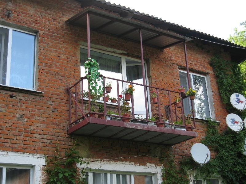 балкон с устройством крыши